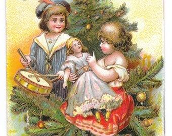 Me and My Dolly Christmas Postcard, 1909