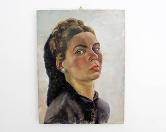 Vintage painting // 1940's 39cmx30cm portrait of a woman // artist TN 1945