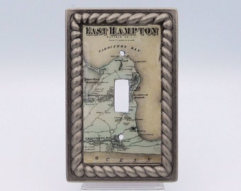 Out East Light Switch Cover, East Hampton Light Switch, Vintage Coastal Map Switchplate, Beach House Light Switch Plate, Coastal Home Decor