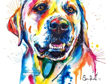 Colorful Yellow Lab Art Print - Print of my Original Watercolor Painting of labrador retriever
