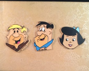 1994 HANNA BARBERA FLINTSTONES Character Refrigerator Magnets Vintage Fred Barney Betty