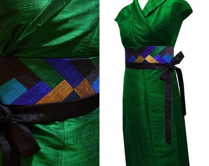 Kimono dress emerald Silk wrap dress Obi belt patchwork peacock feather
