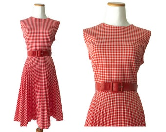 Red Gingham Dress 60s Pleated Sundress Sleeveless Picnic Dress Belted 1960s Checkered Summer Size Medium