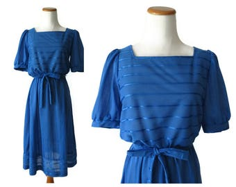 Royal Blue Dress 80s Secretary Blouson Dress Striped Midi 1980s Size Small S Stranger Things Costume Glow Cosplay