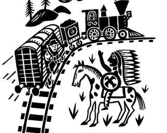 Western train / framed digital print
