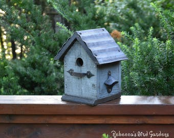 "Gray Rustic Birdhouse ~ ""The Cabin"" - Unique Birdhouse - Wooden Birdhouse - Outdoor Birdhouse - Bird House - Shabby Chic Birdhouse"