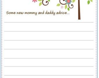 10 Happi Tree Owl Baby Shower Advice Cards