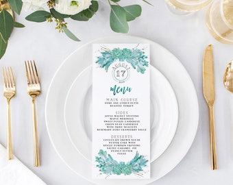 Succulent Green Wedding Menus - Printable or Printed Wedding Menu Cards