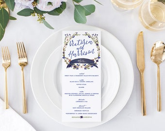 Fall or Autumn Wedding Menu Cards — Boho Garden Blue, Purple, Indigo Reception Menus