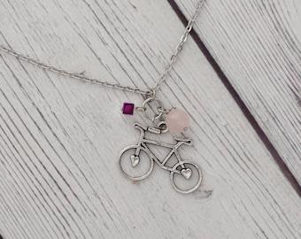 Bike necklace - bike charm necklace, bicycle necklace, bicycle charm necklace, bicycle jewelry, sports jewelry, biker gift * FREE SHIPPIN
