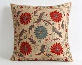 Eclectic Home decor 18x18 Hand Embroidered Silk Suzani Pillow Cover