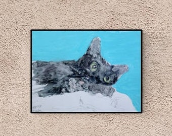 Gift for cat lovers - cat portrait - cat - drawing - cats - black cat - original picture - autographed
