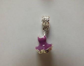 light purple dress silver pendant 18 x 12 mm