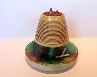 Antique English Porcelain Majolica Table Match Striker. C1840-50. Victorian Table Vesta. Antique Porcelain Pyrogene. Gentleman's Club Vesta.