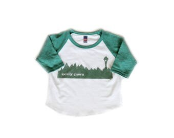 Locally Grown Seattle Treeline- Infant Baseball Tee-Unisex-Organic Cotton Royal Apparel-baby clothes-pacific northwest-raglan