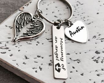 Mommy of an Angel, Baby Name, Footprint, Silver Keychain, Loss of Baby, Miscarriage, Silver Keyring, Loss of Child, Jewelry, Baby Memorial