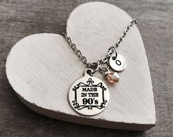 Made in the 90's, Born in 90 s, 90's Baby, Birthday, Quote, Slogan, Silver Necklace, Gifts for, 90s Jewelry, 90's Gift, Charm necklace