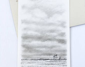Original mixed media drawing, original artwork, charcoal drawing, landscape art, sky illustration, landscape sketch, blue sky, red airplane