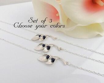 FREE US Ship Set of 3 Calla Lily Bridesmaid Bracelets 3 Double Calla Lily Bracelets Bridesmaid Gift Set Of 3 Pearl And Calla Lily Bracelets