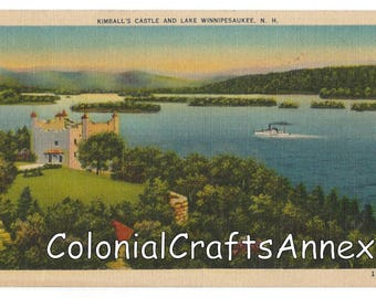 Vintage Postcard - Kimball's Castle and Lake Winnipesaukee New Hampshire - G. A. Quimby -  Linen - 1559
