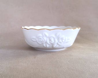Vintage Lenox Rose Blossom Embossed Fine China Porcelain w/24K Gold Scalloped Edge Bowl, Candy/Nut Bowl Trinket/Jewelry Dish Bath Accent