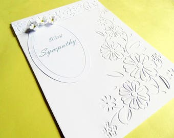 Sympathy card, condolence card, bereavement card, greeting card, quilled card, handmade card, sorry card, funeral card, with sympathy