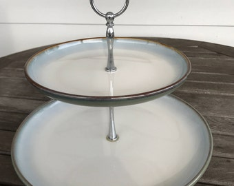 Vintage two tier serving tray with silver handle
