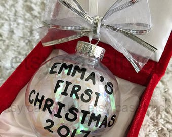 Personalized First 1st Christmas BABY 2017 Custom Christmas Ornament Tree Decoration Bauble Gift Stocking Stuffer Exchange