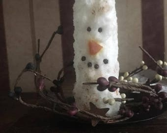 Snowman Candle w/ Tray & Pip Ring