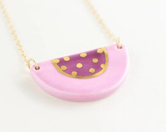 Purple and Gold Necklace, Patterned Necklace, Semicircle Necklace, Colorful Ceramic Necklace, Color Block Necklace, Gold Geometric Jewelry