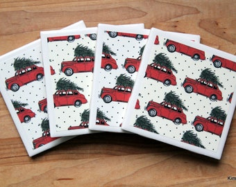 Coaster Set - Red Christmas Truck Coasters - Table Coasters - Christmas Coasters - Coaster - Tile Coaster - Coasters for Drinks