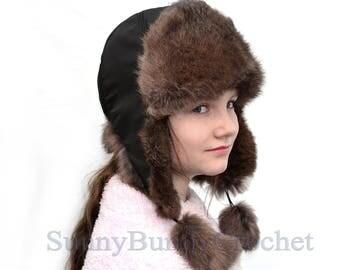Fur Hat with long Ear Flaps, Girl  Real Fur Hat, Aviator Hat, Ushanka, Russian Hat, Ski Hat, Rabbit Fur,Warm Hat, Kids Fur Hat, Trapper Hat