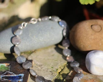 Labradorite and Silver Necklace, Necklace & Earring set, Labrodite coin bead,