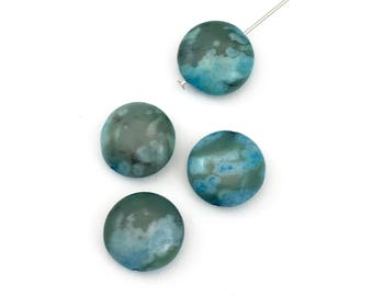 4 blue agate stone beads/ 14mm coin  #PP 025