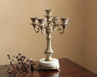Vintage metal Candelabra - candle tree for 5 candles / candle holder with marble base