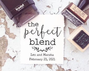 The Perfect Blend Custom Stamp, Coffee Wedding Favor Tags for Espresso, Tea Wedding Favor Tea Bags, Self Inking Wedding Stamp, 10337
