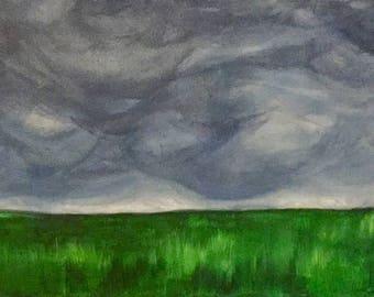 Barn Under Stormy Sky