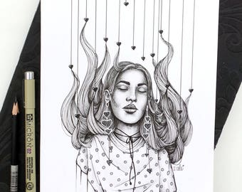 DayDreamer - Original Ink Drawing / Fashion Illustration / Ink Drawing
