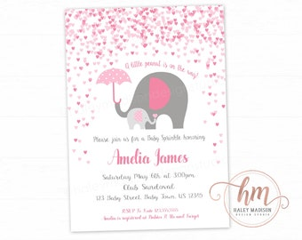 Pink Elephant Baby Shower Invitation, Baby Sprinkle, Little Elephants Invitation, Girl Elephants baby shower PRINTABLE FILE