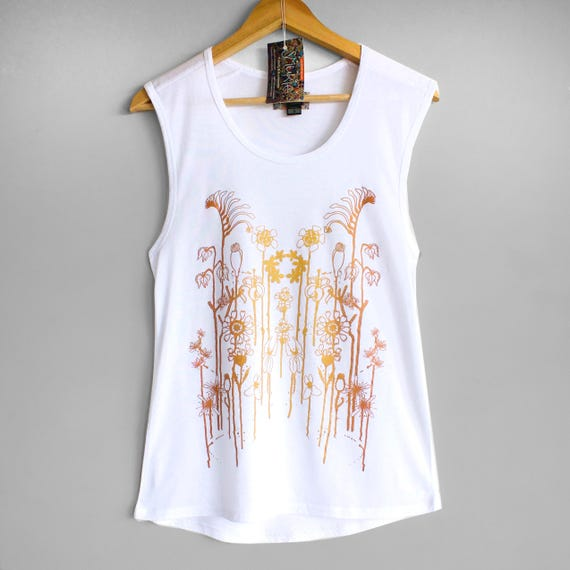 WILDFLOWERS tank top. Ladies white singlet, tank top with flower print in gold and copper.