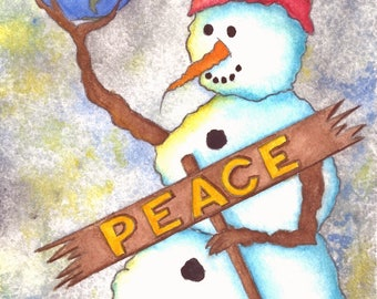 NEW - A Dream In The Palm Of His Hand - Salted Watercolor, Print, Snowman, Whimsical