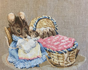 Handmade Beatrix Potter Hunca Munca Mouse  Babies Cross Stitch Nursery Decor Ready to Frame
