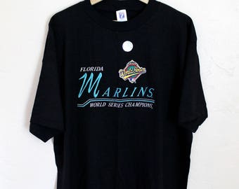 1997 World Series Florida Marlins All Embroidered T-Shirt Vintage Florida Marlins T-Shirt Black Shirt Vintage Embroidered Size XL