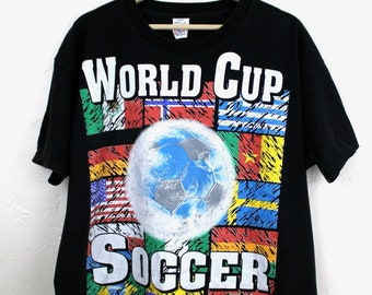 1994 World Cup Soccer T-Shirt 90s Vintage World Cup USA T-Shirt Official World Cup Merch Futbol Made in USA Black T-Shirt Size Large