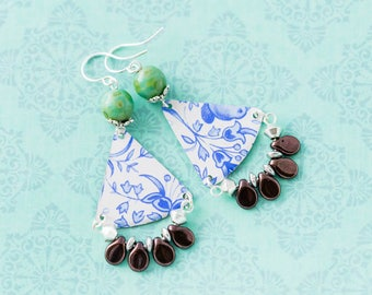 Blue and White Delft Vintage Tin Earrings with Dark Eggplant Purple Drop Beads and Turquoise Czech Glass Beads, Vintage Tin Jewelry