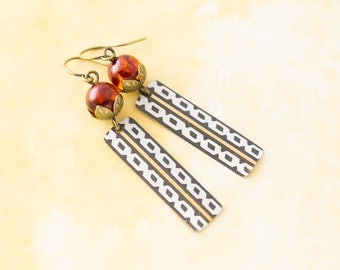 Black, White and Gold Vintage Tin Matchstick Earrings with Faux Amber Resin Beads, Antique Brass, Upcycled Jewelry
