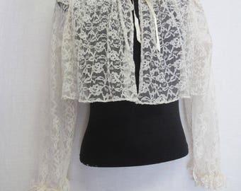 Lace Bed jacket White Bed Jacket 1960 Bed Jacket
