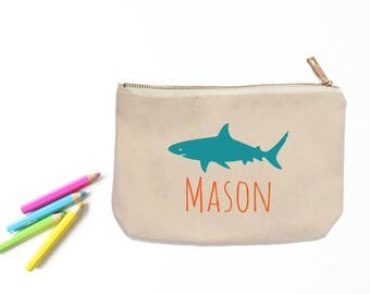 Shark Personalized Pencil Pouch // Custom Personalized Kids Shark School Pencil Bag // Pencil Case