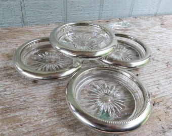4 Silver plate & Crystal Coasters- Vintage Decorative Drink Coasters- Leonard Silver Plate Italy