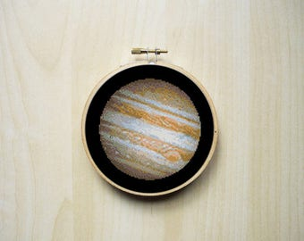 Jupiter Planet Solar System Space Modern Counted Cross Stitch Pattern | Instant PDF Download